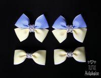 Pinstripe Blue/Lemon - Bunches Bows - 4 bows