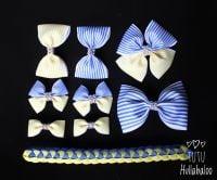 Pinstripe Blue/Lemon - School Bow Set - 8 bows + Bun Wrap