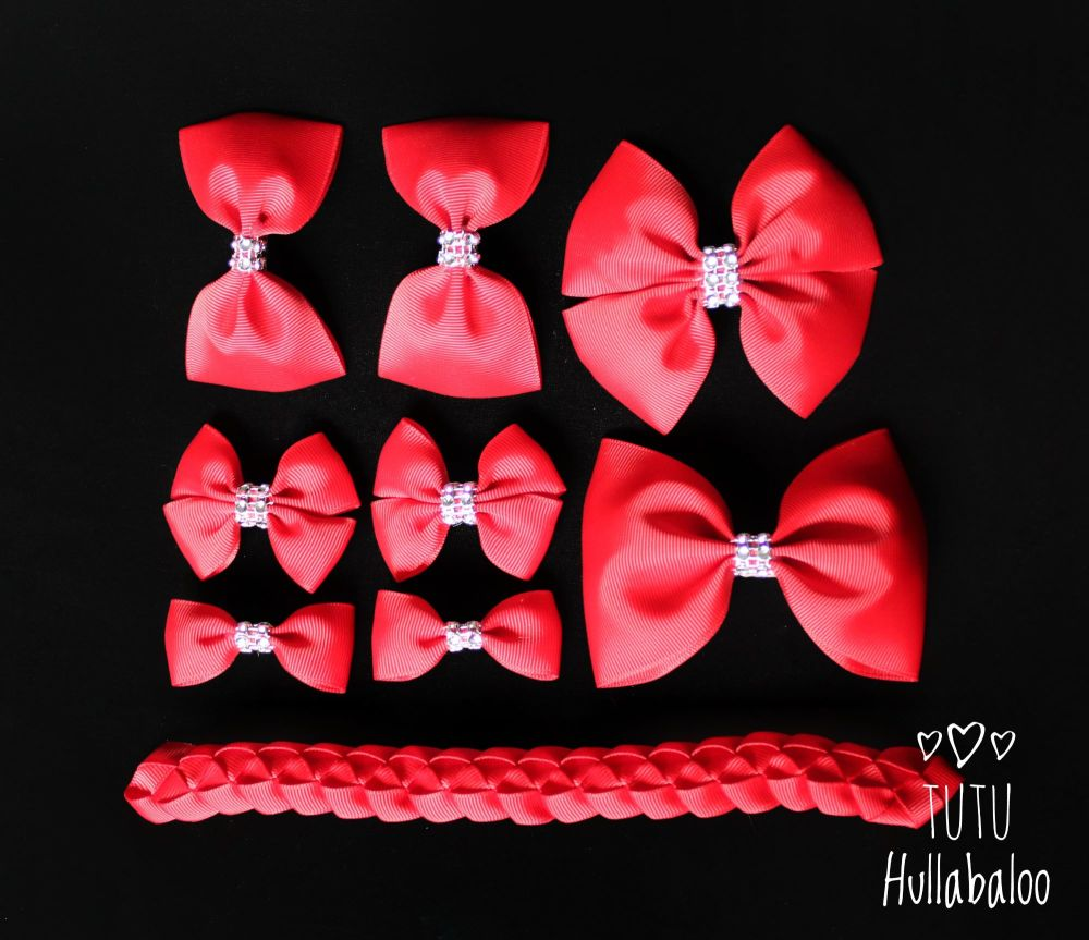 Plain Red - School Bow Set - 8 bows + Bun Wrap