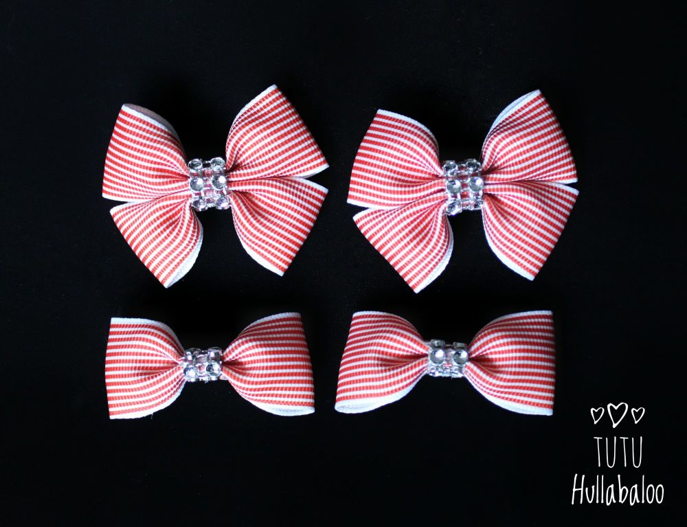 Pinstripe Red - Bunches Bows - 4 bows