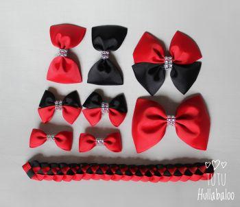 Plain Red/Black - School Bow Set - 8 bows + Bun Wrap