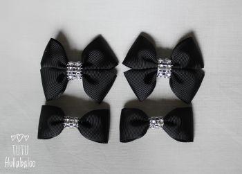 Plain Black - Bunches Bows - 4 bows