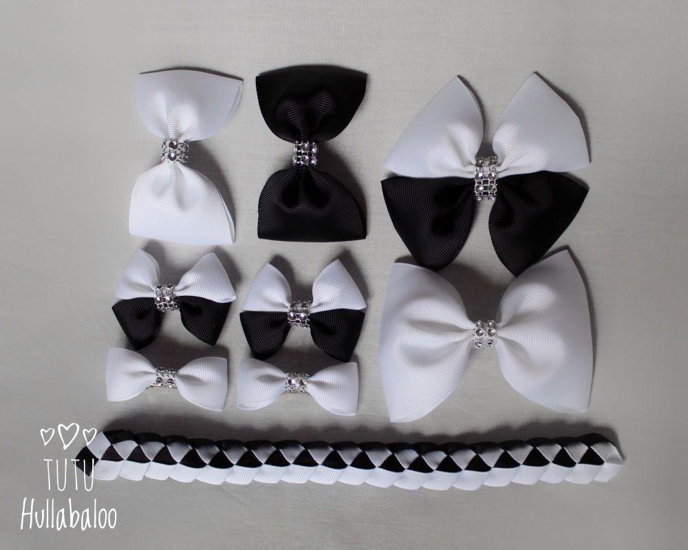 Plain Black/White - School Bow Set - 8 bows + Bun Wrap