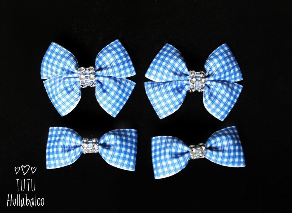 School Checked Blue - Bunches Bows - 4 bows