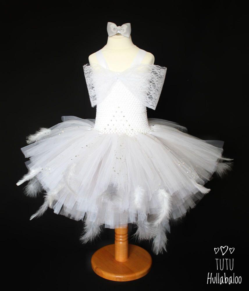 Baby Swan Dress White/Grey