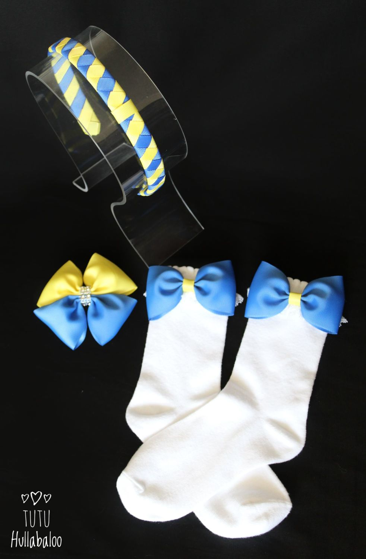 Plain Blue/Yellow - Sock set with headband