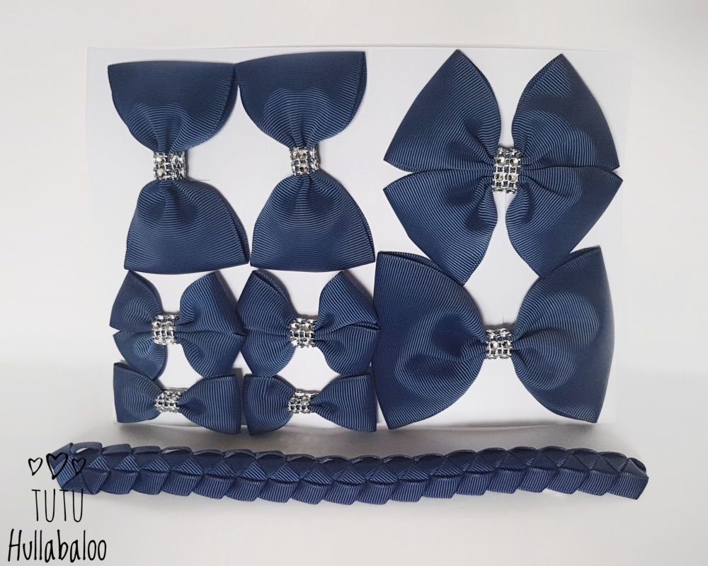 Plain Navy - School Bow Set - 8 bows + Bun Wrap