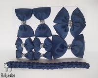 Plain Navy - School Bow Set - 8 bows + Bun Wrap