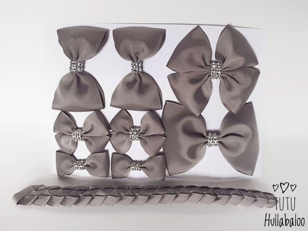 Plain Metal Grey - School Bow Set - 8 bows + Bun Wrap