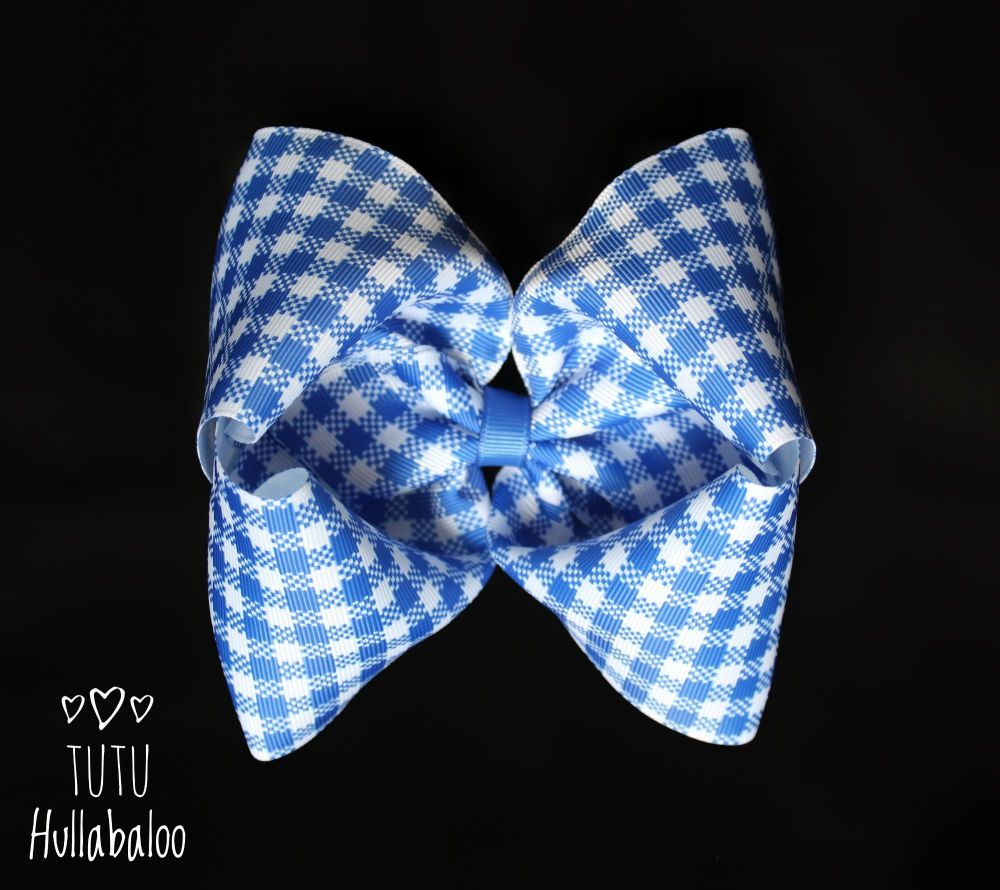 School Checked Blue Mega Bow - Plain centre