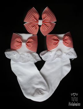 Pinstripe Red - Fold over sock set - Plain centre