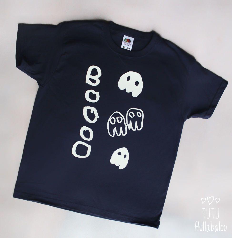 Boo! Vest/Tshirt - Navy/Glow in the dark