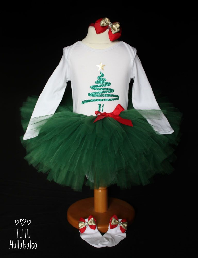 Christmas Tree Tutu + Top Set - 18-24 months - Ready to post