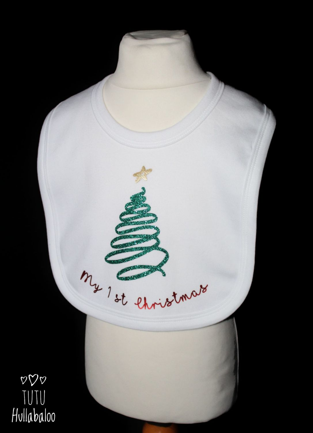 First Christmas Bib - White/Green/Red - Ready to post