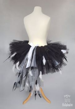 Swan Feathered Tutu Black with White + Sparkle - Adult