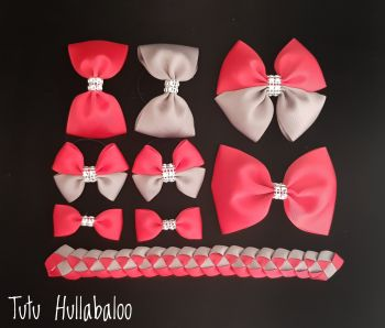 Plain Red/Grey - School Bow Set - 8 bows + Bun Wrap