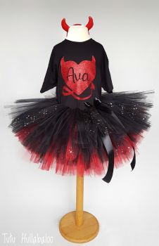 Devil Tutu + Top Set - Black/Red