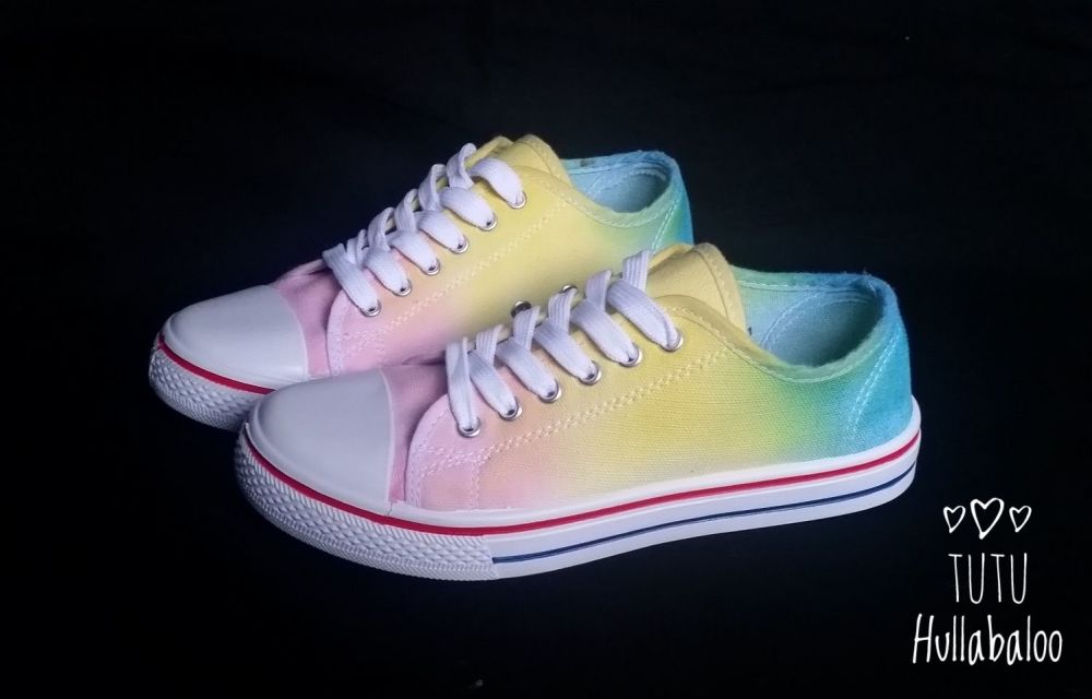 Pink/Yellow/Blue Lowtops - Kids Size 12 - Ready to post
