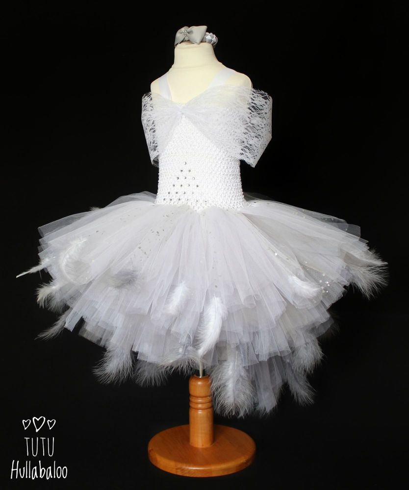 Baby Swan Dress White/Grey - Age 3-4 years - Ready to post