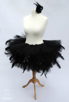 Swan Feathered Tutu Black - Adult