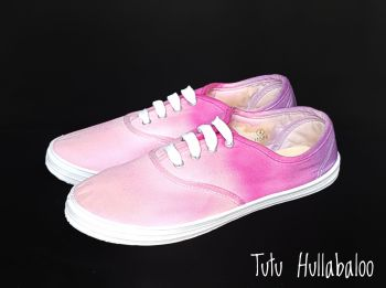 Tie Dyed Plimsolls - Pink/Magenta/Purple - Size 4 - Ready to post