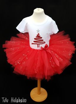 Christmas Tree Tutu + Top Set Red