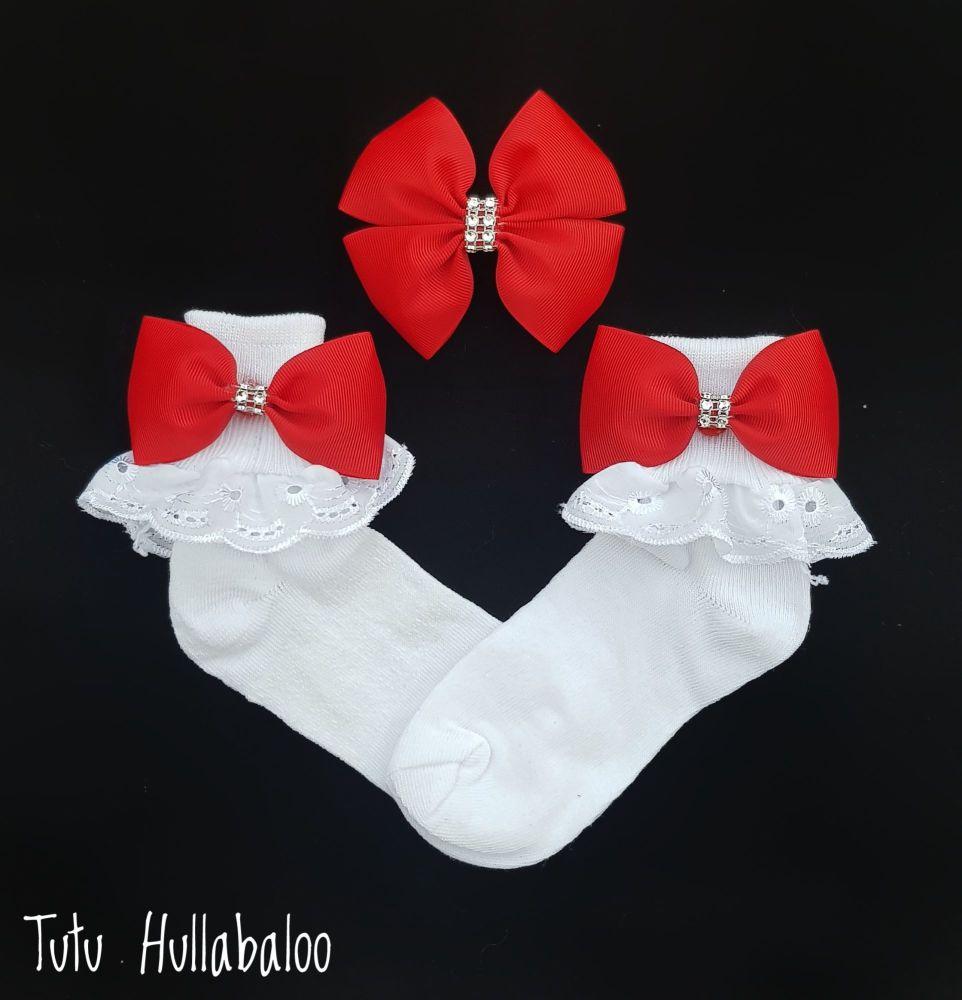 Plain Red - Fold over sock set