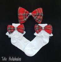 Tartan Red - Fold over sock set
