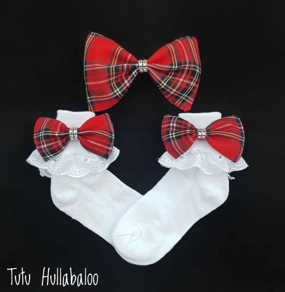 Tartan Red - Fold over sock set