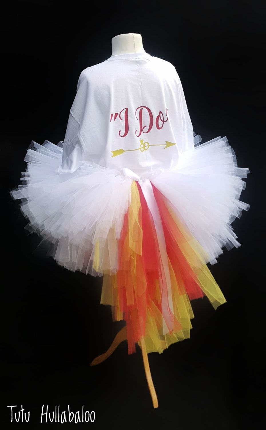 White Tutu with Red/Yellow Tails - Adult