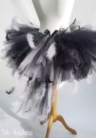 Swan Feathered Tutu Black with Grey - Adult