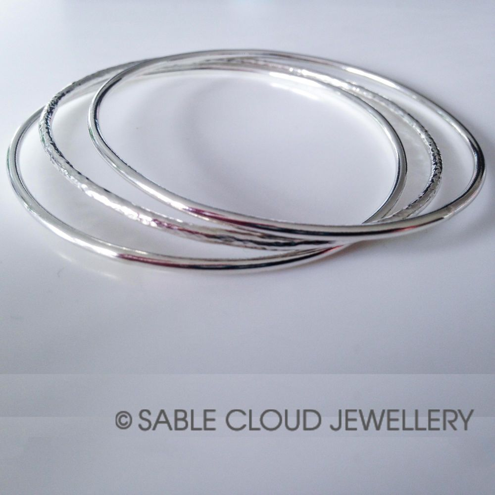 Sterling Silver Stackable Bangle Set- two hammered and one polished bangle