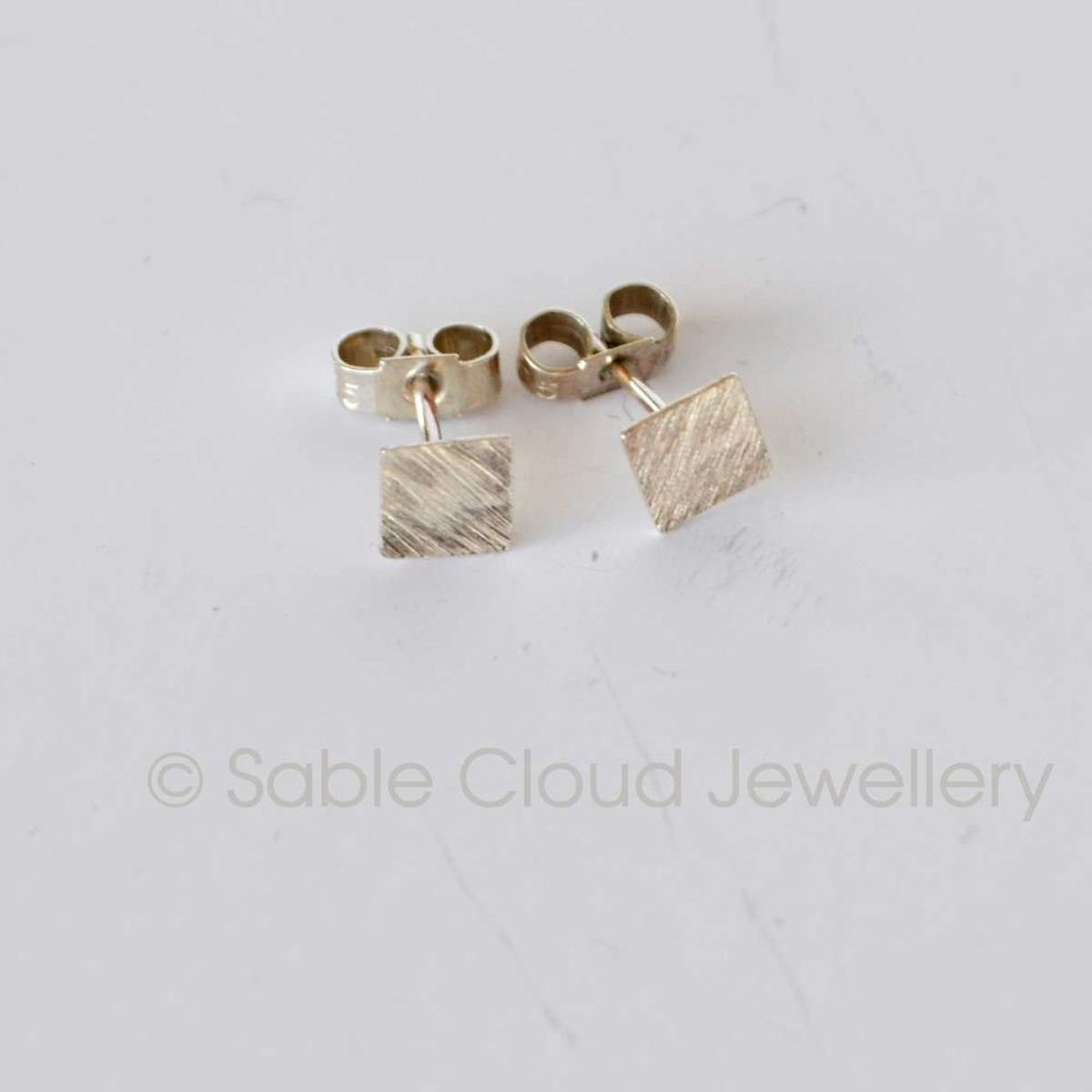 Silver Square Stud Earrings Textured Studs