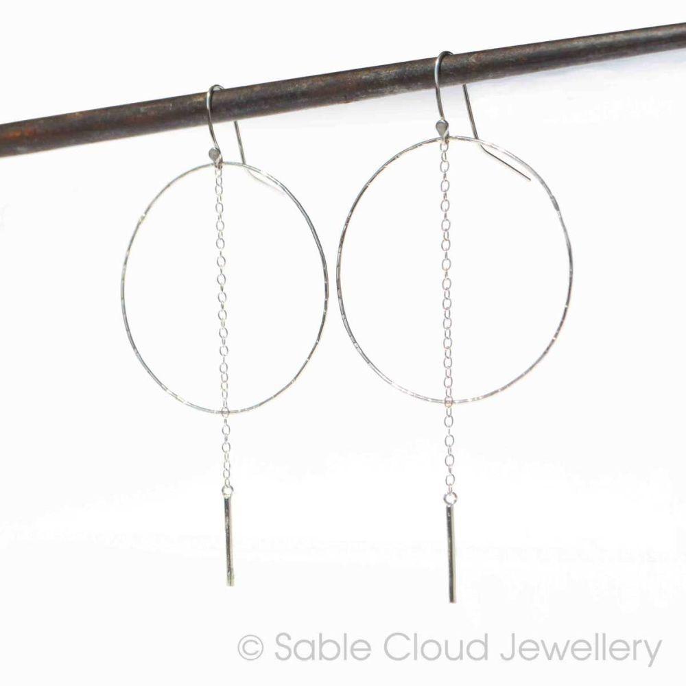 Silver Hoop Earrings with Chain Drop Big Hoops