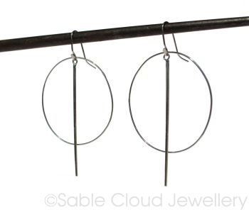 Hoop Earrings - Large with Silver Bar