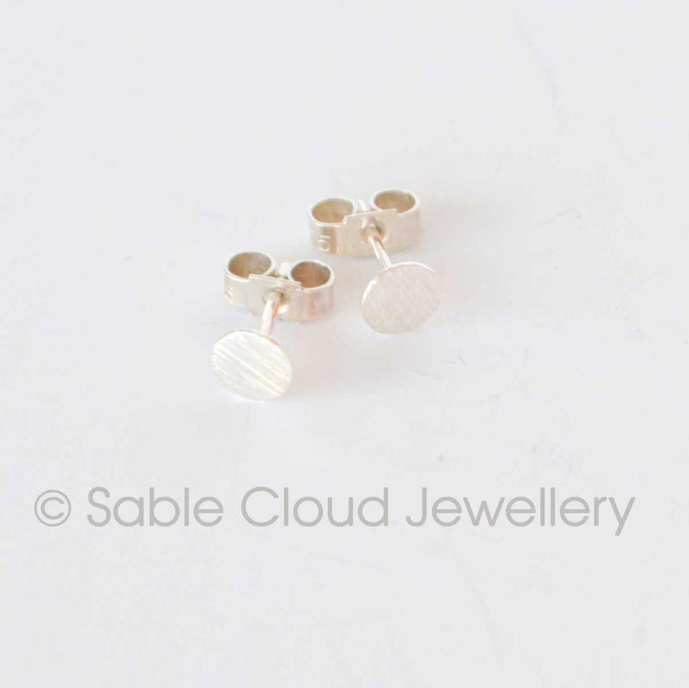 Silver Stud Circle Earrings Textured Earrings