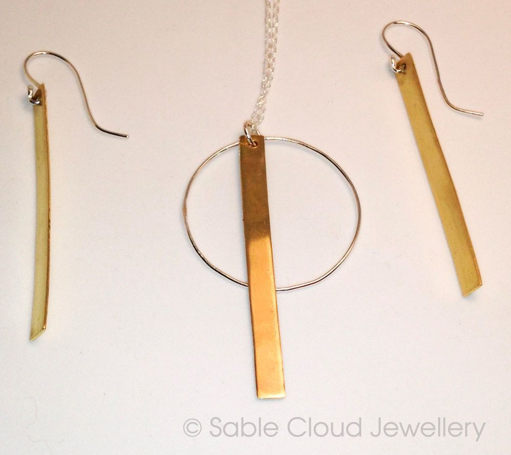 Silver, Brass drop earrings, Silver and Brass pendant, Silver and Brass Jew