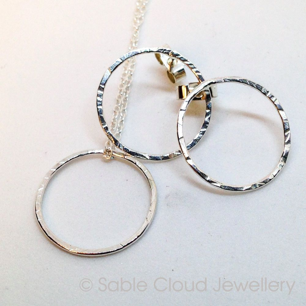 Silver Circle Jewellery Gift Set Textured Earrings and Necklace
