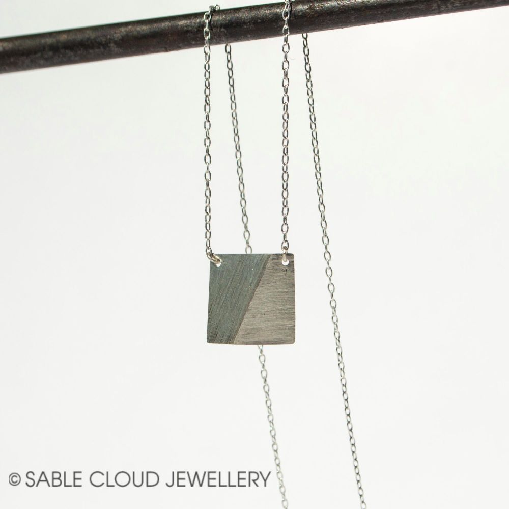 Silver Square Pendant Geometric Necklace