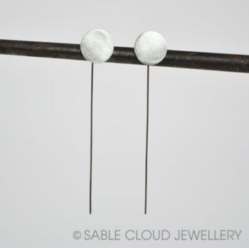 Long Wire Drop Circle Earrings