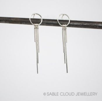 Metal Fringe - Circle Stud Earrings