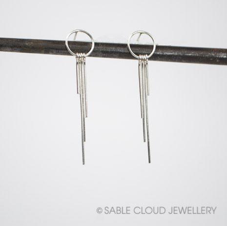 Circle Studs - metal fringe