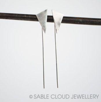 Long Wire Drop Triangle Earrings