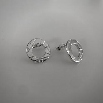 Stud Earrings - Circle Line Pattern