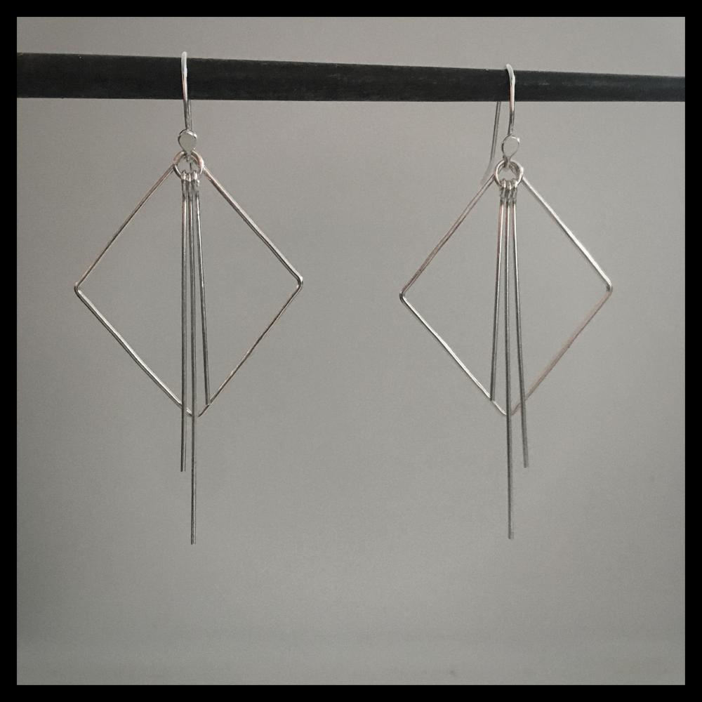 Metal Tassel - Square Earrings