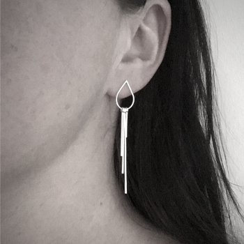 Metal Fringe - Teardrop Stud Earrings