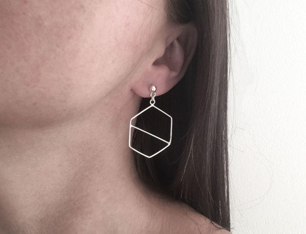Dangle Earrings - Hexagon Slice