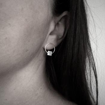Stud Earrings - Circle Square