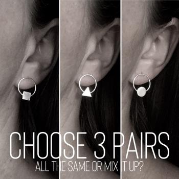 Three Pairs of Circle|Shape Stud Earrings