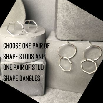 Pair of Shape Studs and Pair of Circle|Shape Dangle Earrings Set